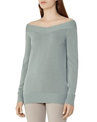 Reiss Christobel Off The Shoulder Sweater Sage