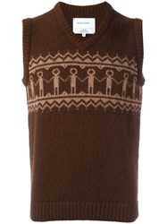 The Inoue Brothers Embroidered Sleeveless Knitted Vest Brown
