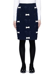 Thom Browne Hector And Bone Applique Wool Knit Skirt Blue
