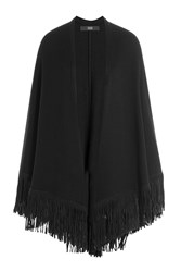 Steffen Schraut Fringed Cape With Cashmere Black