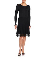 Cece Long Sleeve Lace Trimmed Fit And Flare Sweater Dress Black