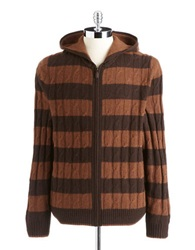 Black Brown Lambswool Blend Striped Hooded Cable Knit Sweater Autumn Spice