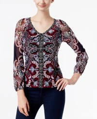 Inc International Concepts Printed Lace Up Top Only At Macy's Grand Ballroom Paisley