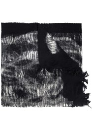 Y's Frayed Scarf Black