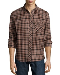 Ag Adriano Goldschmied Interior Pocket Woven Shirt Rosewood Plaid