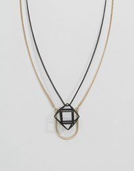 Asos Geometric Pendant Necklace Pack Gold