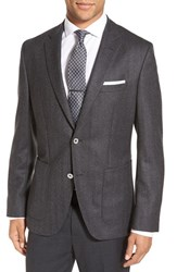 Boss Men's 'Janson' Trim Fit Herringbone Wool Sport Coat Dark Grey