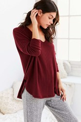 Out From Under Oversized Cozy Thermal V Neck Top Maroon