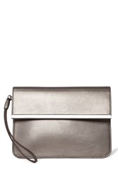 Warehouse Clean Bar Detail Clutch Silver