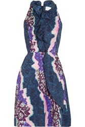 Peter Pilotto Ellipse Printed Silk Dress Purple