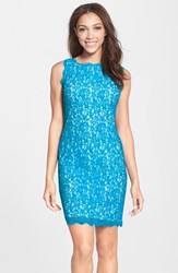 Women's Adrianna Papell Boatneck Lace Sheath Dress Cerulean White