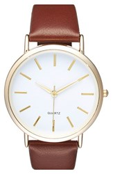 Junior Women's Bp. Round Face Faux Leather Strap Watch 35Mm