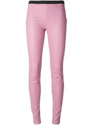 Helmut Lang Leather Leggings Pink And Purple