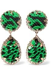 Shourouk Gold Tone Crystal And Sequin Clip Earrings Green