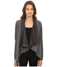 Blank Nyc Drape Front Jacket In French Grey French Grey Women's Coat Black