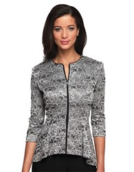 Alex Evenings Three Quarter Print Peplum Jacket Black Silver