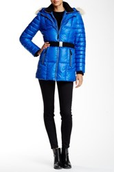 Andrew Marc New York Allison Genuine Coyote Fur Trimmed Quilted Jacket Blue