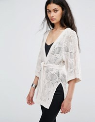 Only Loose Weave Longline Kimono Cardigan Cloud Dancer Acid White