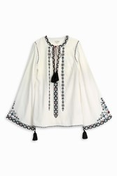 Talitha Diamond Embroided Tunic Ivory