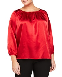 Melissa Masse Plus Pleated Long Sleeve Scoop Neck Blouse Red