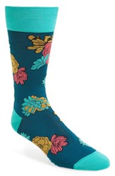 Bugatchi Men's Flower Power Socks Teal