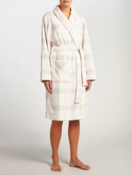 John Lewis Check Print Shawl Collar Robe Ivory Grey