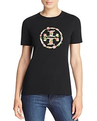 Tory Burch Kimble Embellished Floral Logo Tee Black