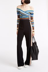 Msgm Side Stripe Trousers Black