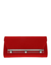 Nina Lucky Satin Clutch Red Shimmer
