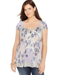 American Rag Plus Size Cap Sleeve Printed Babydoll Top Only At Macy's Egret Combo