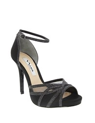 Nina Kerstin Satin And Glitter Platform Stiletto Sandals Coal Black