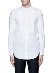 Ports 1961 Half Pleated Bib Front Cotton Shirt White