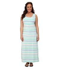 Columbia Plus Size Reel Beauty Ii Maxi Dress Candy Mint Variegated Stripe Women's Dress Blue