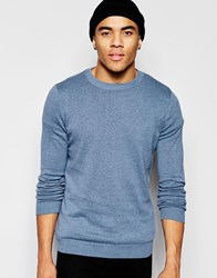 New Look Crew Neck Jumper In Blue Pottery Blue