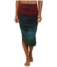 Hard Tail Shirred Poet Skirt Rainbow Horizon Women's Skirt Multi