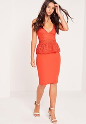 Missguided Strappy Peplum Midi Dress Red Pink