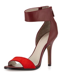 Pour La Victoire Yara Leather Ankle Wrap Pump Red