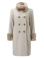 Jacques Vert Db Twill Fur Trim Coat Neutral
