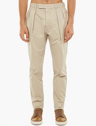 Officine Generale Natural Pleated Cotton Chinos