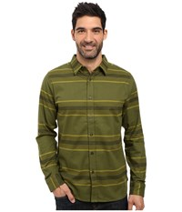 The North Face Long Sleeve Approach Flannel Terrarium Green Men's Clothing Beige