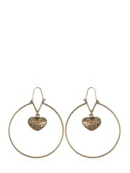 Etro Heart Pendant Hoop Brass Earrings