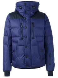 Moncler Grenoble Buttoned Hooded Jacket Blue
