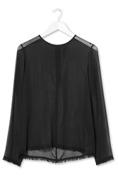 Frayed Sheer Silk Chiffon Top By Boutique Black