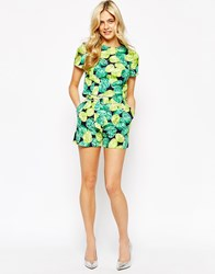 Oasis Co Ord Lime Printed Shorts Multi