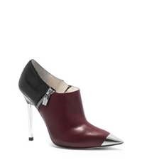 Michael Kors Zady Cap Toe Leather Ankle Boot Black Claret