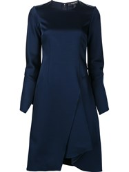Derek Lam Asymmetric Hem Long Sleeve Dress Blue