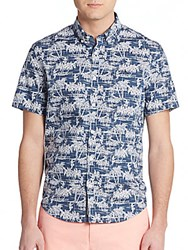 Original Penguin Classic Fit Hula Girl Sportshirt Dark Denim