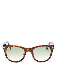 Tom Ford Jack Combo Square Sunglasses 50Mm Shiny Havana Gradient Green Lens