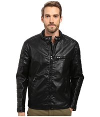 Marc New York Watkins Distressed Faux Leather Moto Jacket With Quilted Sleeves Black Men's Coat