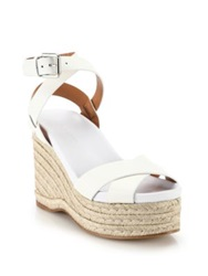 Ralph Lauren Lois Espadrille Leather Wedge Sandals White
